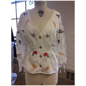 Topshop Embroidered Linen Blouse